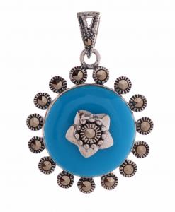 Marcasite Blue Round Pendant