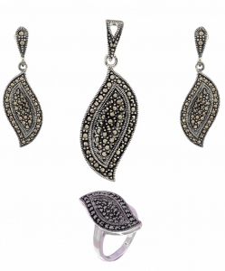 Exclusive Marcasite Leaf Pendant Set