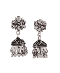 Antique Oxidised Silver Flower Jhumkis