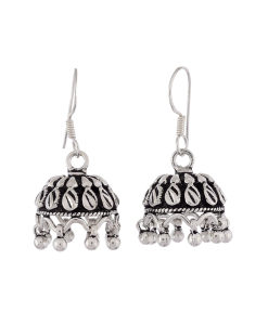 Antique Oxidised Silver Jhumkis
