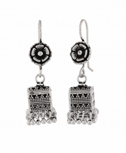 Antique Oxidised Silver Square Jhumkis