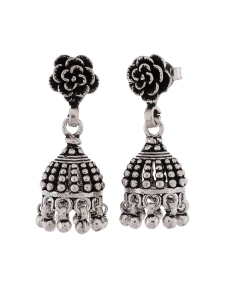 Antique Oxidised Flower Silver Jhumkis
