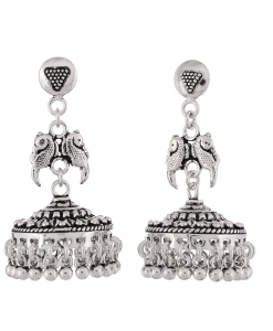 Antique Oxidised Silver Bird Jhumkis