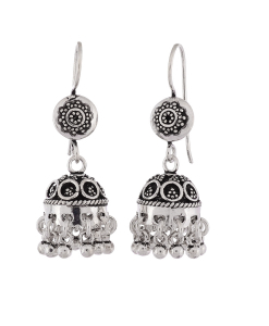 Antique Round Flower Oxidised Silver Jhumkis