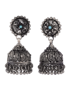 Antique Oxidised Flower Blue Silver Jhumkis