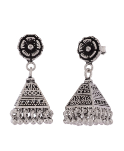 Antique Oxidised Silver Triangle Jhumkis