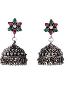 Antique Oxidised Silver Flower Multistone Jhumkis
