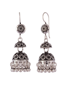 Antique Oxidised Silver Light Jhumkis