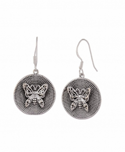 Antique Oxidised Silver Butterfly Earrings