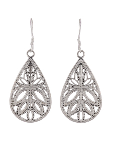Silver Hanging Leaf Earrings