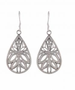 Silver Hanging Leaf Earrings