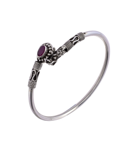 Antique Oxidised Sleek Silver Purple Stone Bangle