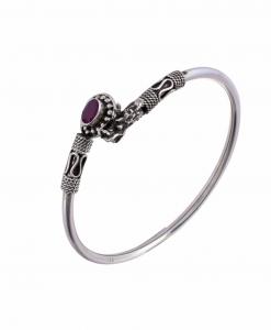 Antique Oxidised Sleek Silver Purple Stone Bangle