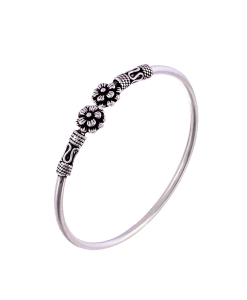 Antique Oxidised Sleek Silver Flower Bangle