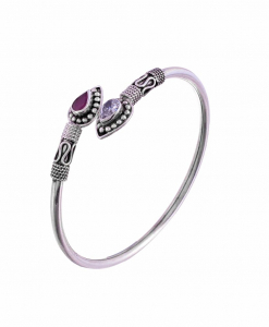 Antique Oxidised Sleek Silver Purple Bangle