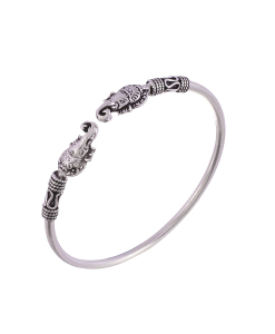 Antique Oxidised Sleek Silver Ganesha Bangle