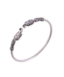 Antique Oxidised Sleek Silver Ganesha Bangle