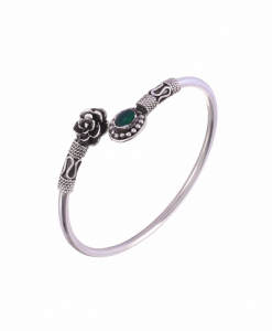 Antique Oxidised Sleek Silver Green Flower  Bangle