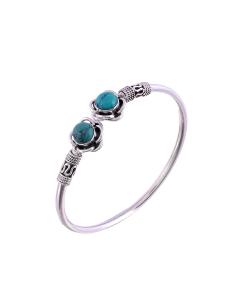 Antique Oxidised Sleek Silver Blue Stone Bangle