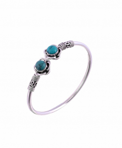 Antique Oxidised Sleek Silver Blue Stone Bangle