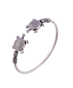 Antique Oxidised Sleek Silver Tortoise Bangle