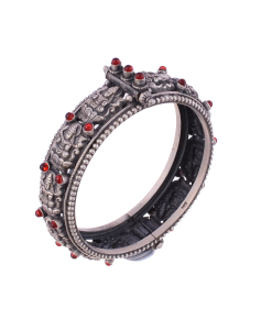 Antique Oxidised Beautiful Silver Red Stone Goddess Bangle