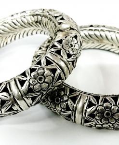 Oxidised Beautiful Silver Flower Set of Bangles