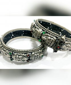 Oxidised Beautiful Silver Red and Green Set of Bangles