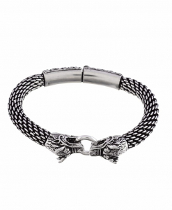 Oxidised Silver Bull Bracelet