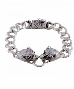 Oxidised Silver Tiger Bracelet