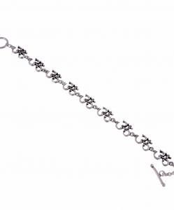 Oxidised Silver Om Bracelet