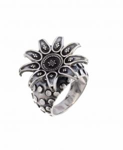 Oxidised Silver Flower Ring