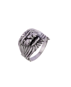 Oxidised Silver Lion Ring