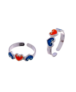 Silver Enamel Orange Blue Heart Toerings