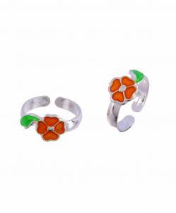 Silver Enamel orange Flower and Leaf Toerings