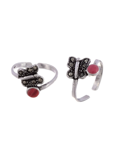 Silver Butterfly and red Stone Toerings