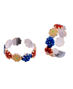Silver Enamel Multicolor Flower Toerings