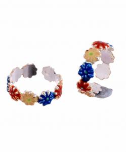Silver Enamel Multicolor Flower Toerings