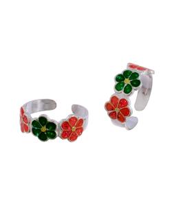 Silver Enamel Orange and Green Flower Toerings