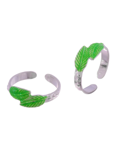 Silver Enamel Green Leaf Toerings