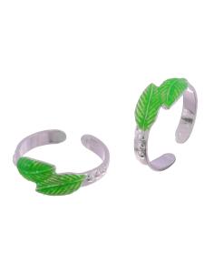 Silver Enamel Green Leaf Toerings